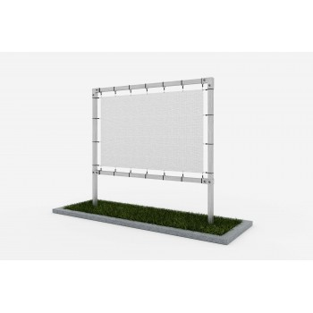 Freestanding advertising structure from square profiles - under the banner