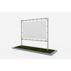 Freistehende Werbestruktur aus quadratischen Profilen - unter dem Banner Klemp KLEMP-FREE-SQR-BAN Konstuktionen