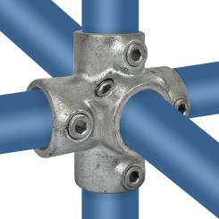 Kreuzstück für Stützrohr. 4-Richtungs-Verbinder - Typ 26A - 21,3 mm Klemp 608026A Runde Rohrverbindungen