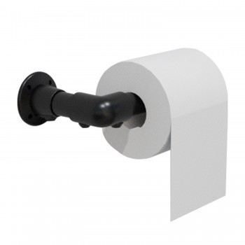 KLEMP Industrial Vintage Look Toilet Roll Holder 3/4 Inch Toilet Paper Holder Iron Pipe DIY Towel Holder Black Klemp 05-MZRZ-...