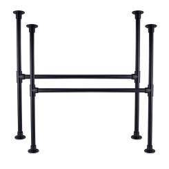 KLEMP Table Legs Industrial Metal Black Frame Set of 2 DIY for Screwing On - 33.7 mm   1 Inch   Height: 72 cm   Width: 70 cm