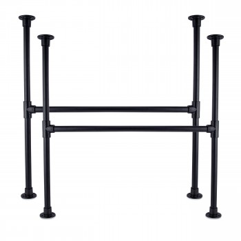 KLEMP Table Legs Industrial Metal Black Table Frame Set of 2 Table Legs for - 33.7 mm   1 Inch   Height: 72 cm   Width: 80 cm...