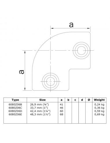 Winkel-Gelenk /Ø 26,9 mm 85-135/° Fenau beidseitig verstellbar Rohrverbinder feuerverzinkt Schrauben inkl Temperguss galvanisiert